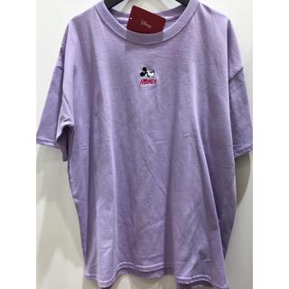 ディズニー(Disney)の新品 紫 レディース ミッキー 刺繍 Tシャツ ゆったり ディズニー(Tシャツ(半袖/袖なし))