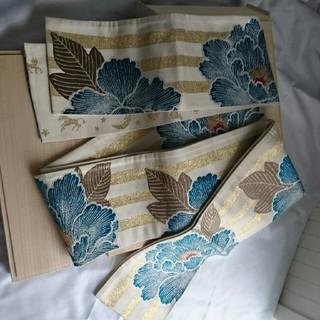 フリフ(ふりふ)のふりふの絹 半幅帯 ベージュ 牡丹刺繍(帯)