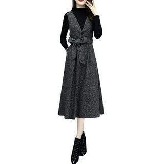 ドレス 長袖 春コーデ 快適 女性 通勤 LL0407072(ロングドレス)