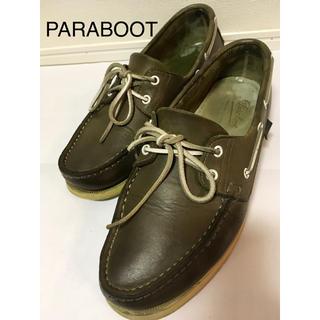 パラブーツ(Paraboot)のPARABOOT☆デッキシューズ☆カーキ☆27.5cm☆本革☆(デッキシューズ)