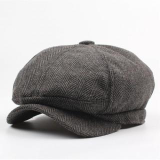 グレー キャスケット メンズ リンボーン柄 ハンチング帽 キャップ つば付き(キャスケット)
