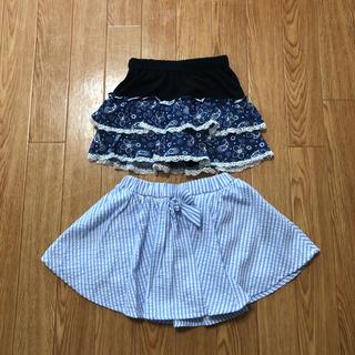 ニシマツヤ(西松屋)の☆キッズ ペイズリー柄風 ストライプ柄 スカート 2枚セット 110☆☆☆(スカート)
