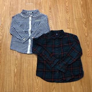 ユニクロ(UNIQLO)の☆ギンガムチェック タータンチェック 長袖 シャツ 2枚セット 110☆☆☆(ブラウス)