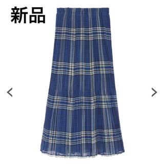 フレイアイディー(FRAY I.D)の新品♡タグ付き フレイアイディー チェック柄プリーツスカート ブルー(ロングスカート)