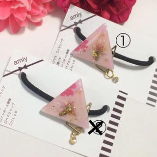 【送料無料】桜とバーベナの三角ヘアゴム 押し花 押しフルーツ ヘアアクセ(ヘアゴム/シュシュ)