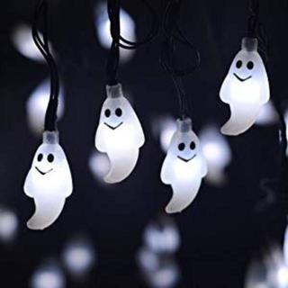 ハロウィン ソーラーストリングライト 幽霊電飾◆イルミネーション (蛍光灯/電球)