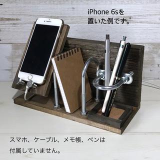 スマホスタンド&メモ帳・ペン立て付き ROUTE66 木製スタンド ボルト使用(その他)