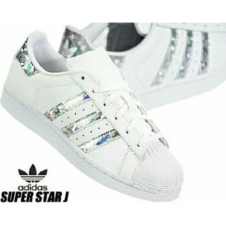 アディダス(adidas)の【お洒落カラー】 キラキラ ホログラム  スーパースター J 個性的 シルバー(スニーカー)