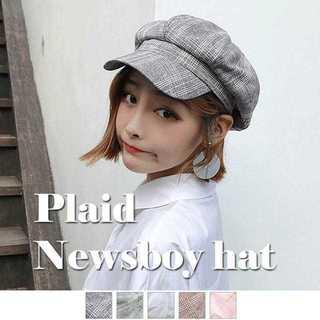 【新品】キャスケット帽子 レディース 小物 CAP つば付き マリン帽 チェック(キャスケット)
