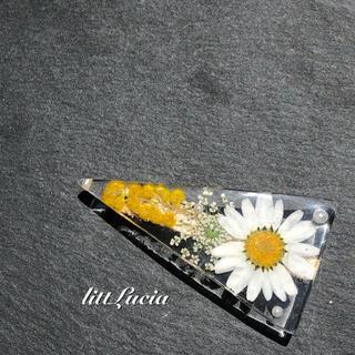 【オーダー】ボタニカルバレッタ〜ノースポール・ミモザ・レースフラワー 〜(ヘアアクセサリー)