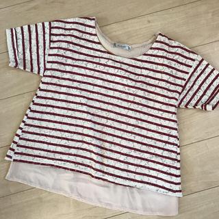 シマムラ(しまむら)の☆しまむら☆ バックリボン Tシャツ ボーダー レース カットソー(カットソー(半袖/袖なし))
