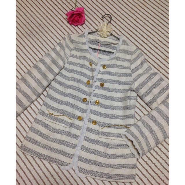 POWDER SUGAR(パウダーシュガー)のパウダーシュガー アウター 春 Mサイズ ボーダー 羽織り レディースのジャケット/アウター(トレンチコート)の商品写真