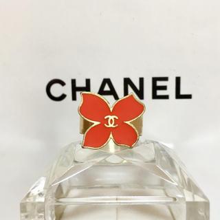 シャネル(CHANEL)の正規品 シャネル 指輪 花 金 ココマーク フラワー ゴールド レッド リング(リング(指輪))