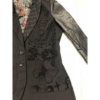 デシグアル(DESIGUAL)のdesigual (デジグアル) 刺繍 ブラック フェイクレザー異素材ジャケット(テーラードジャケット)