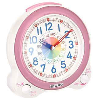 セイコー クロック 目覚まし時計 知育 アナログ ピンク(置時計)