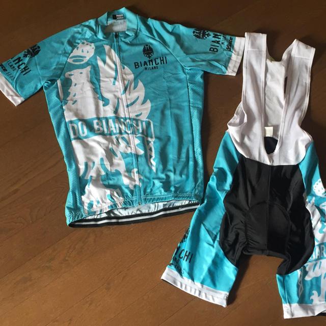 処分特価 チームウェアセット上下  ビアンキチェレステ M サイズ ラス1 スポーツ/アウトドアの自転車(ウエア)の商品写真