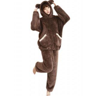 パジャマ もこもこ 動物 ルームウェア レディース ブラウン Lサイズ(ルームウェア)