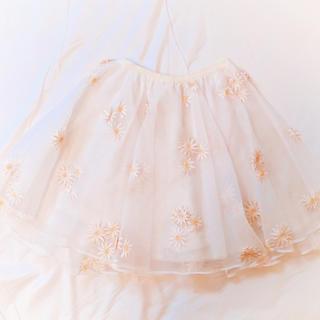 ハニーミーハニー(Honey mi Honey)のデイジースカートパンツ 白 ショートパンツ オーガンジー(ミニスカート)