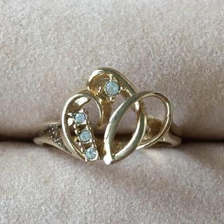 (9)小粒ビジューと曲線のデザインリング ゴールド アンティーク(リング(指輪))