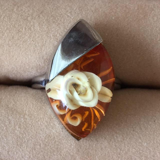 【売約済み】(10)水中花 レモン型のデザインリング シルバー アンティーク レディースのアクセサリー(リング(指輪))の商品写真