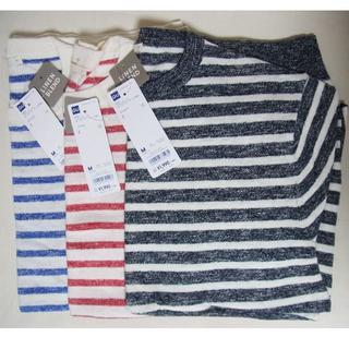 ジーユー(GU)のタグ付新品GUジーユー*リネンブレンドボーダーセーター半袖3枚セットM(Tシャツ/カットソー(半袖/袖なし))
