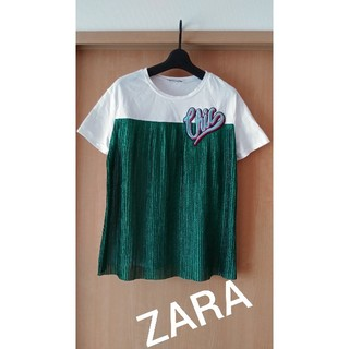 ザラ(ZARA)のZARA★プリーツグリーンかわいいTシャツ(Tシャツ(半袖/袖なし))