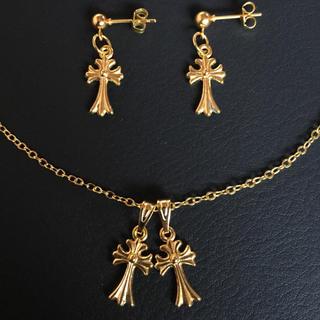 ダブル ミニ クロス 十字架 ネックレス ピアス 両耳ペア セット ゴールド(ネックレス)