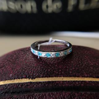 パライバトルマリン 天然ダイヤモンド 一文字 リング 新品(リング(指輪))