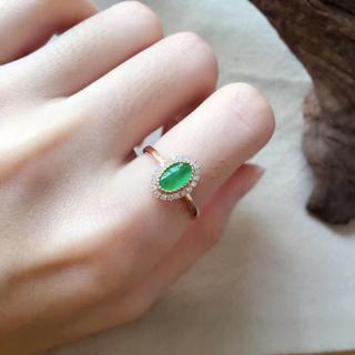 173 k18 翡翠 ヒスイ高級なリング 猫リング 贅沢指輪 ゴールド ハット(リング(指輪))