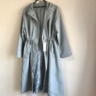 ジーユー(GU)の新品 gu ドローストリングフーデットコート オリーブ ミント スプリングコート(ロングコート)