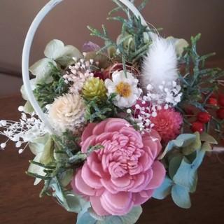 (送料無料)ドライフラワー+スチール缶に咲く花(ドライフラワー)
