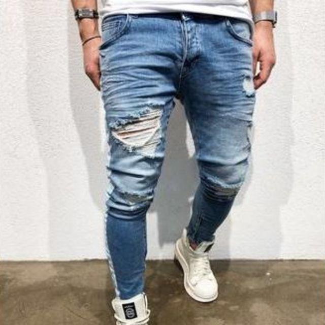 サイズが選べる ダメージデニム ダメージジーンズ クラッシュデニム メンズ パン メンズのパンツ(デニム/ジーンズ)の商品写真