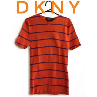 ダナキャランニューヨーク(DKNY)のDKNY【美品】半袖 ニット Vネック ボーダー トップス (カットソー(半袖/袖なし))