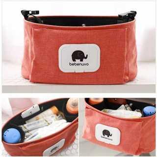 【便利♪】新入荷 ベビーカーバッグ 哺乳瓶ホルダー ポーチ オレンジ 47902(ベビーカー用アクセサリー)