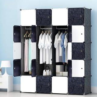 【お買い得】洋服収納ラック 黒と白い20扉 クローゼット 組み立て式(棚/ラック/タンス)