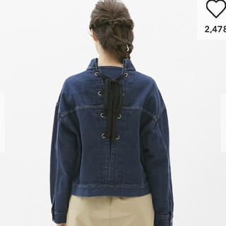 ジーユー(GU)のGU♡バックリボンデニムジャケット(大きいサイズ)(Gジャン/デニムジャケット)