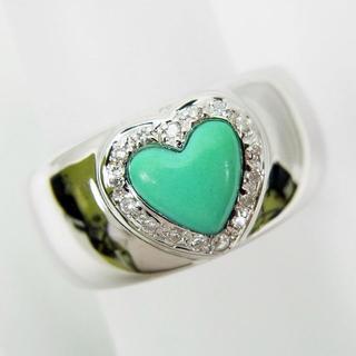 K18WG トルコ石 ブルーグリーン ダイヤモンド リング 10号[f437-3(リング(指輪))