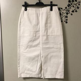 ジーユー(GU)のgu  ホワイトデニムスカート(ひざ丈スカート)