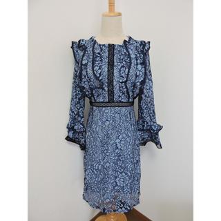 ブルー レース 花柄 ワンピース ドレス (L)(ミディアムドレス)