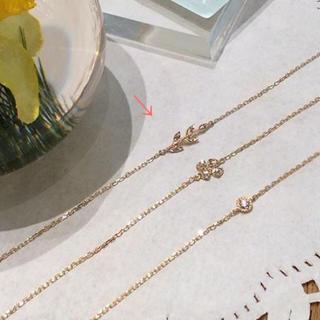 agete - agete 月桂樹 k10 リーフ ダイヤモンド ブレスレット 2.6万 現行品