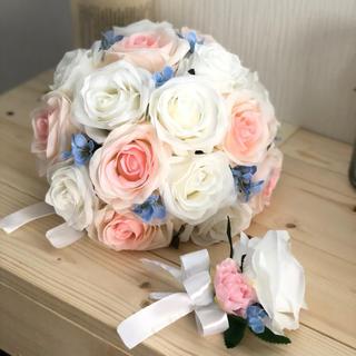 白バラ×ピンク×水色ラウンドブーケ☆(ブーケ)