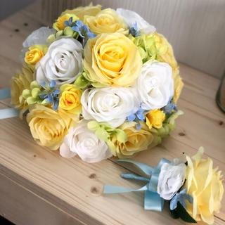 黄色×白×水色のラウンドブーケ☆(ブーケ)