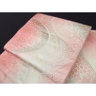 ニシジン(西陣)の正絹 袋帯 西陣織 ピンクのグラデーション(帯)