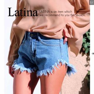 アナップラティーナ(ANAP Latina)のフリンジハイウエストデニムショートパンツ【アナップ anap Latina 】(ショートパンツ)