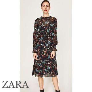 ザラ(ZARA)のZARA 花柄シフォンワンピ 新品タグ付き(ひざ丈ワンピース)