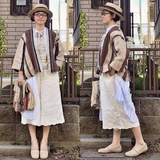 ネストローブ(nest Robe)の日本製 ネストローブ  nest robe ホワイト裾刺繍ワイドパンツ リネン (キュロット)