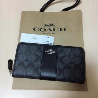コーチ(COACH)の新品 COACH 長財布 人気 チャコール×ブラック(長財布)