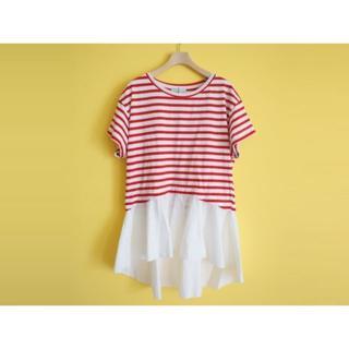 ザラ(ZARA)のZARA ビッグシルエットTシャツS赤ボーダー(Tシャツ(半袖/袖なし))