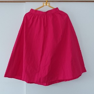 ジーユー(GU)のGU イージーカラーフレアスカート ピンク(ひざ丈スカート)