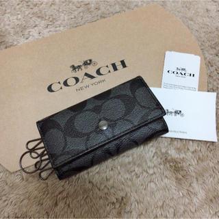 コーチ(COACH)の新品 COACH キーケース 人気 チャコール×ブラック(キーケース)